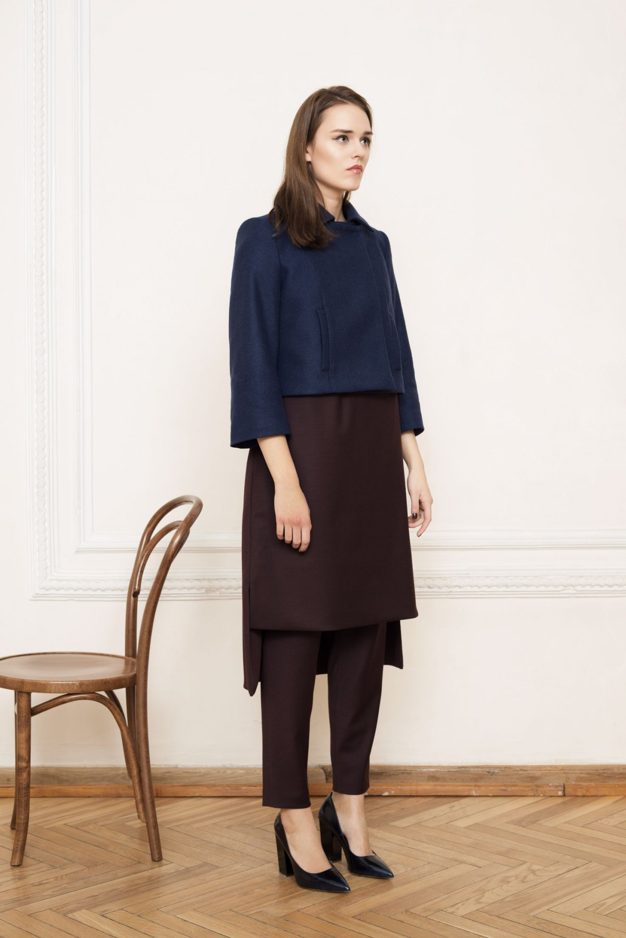 ELLSWORTH Short Coat and HIMALAYAS Draped-back Dress and HIMALAYAS Gathered Waist Trousers