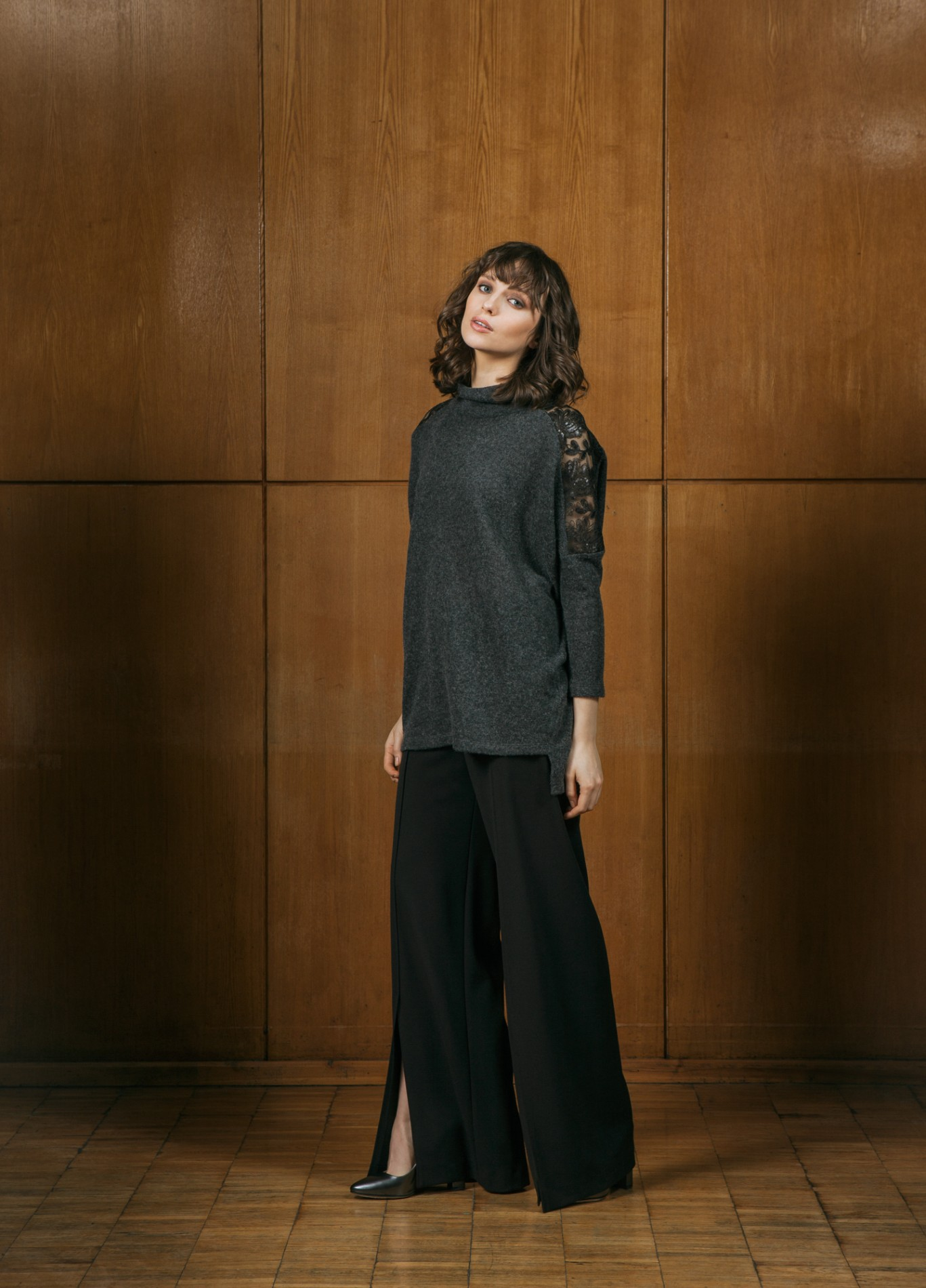 AMBER Lace Sweater and ONYX Wide Trousers