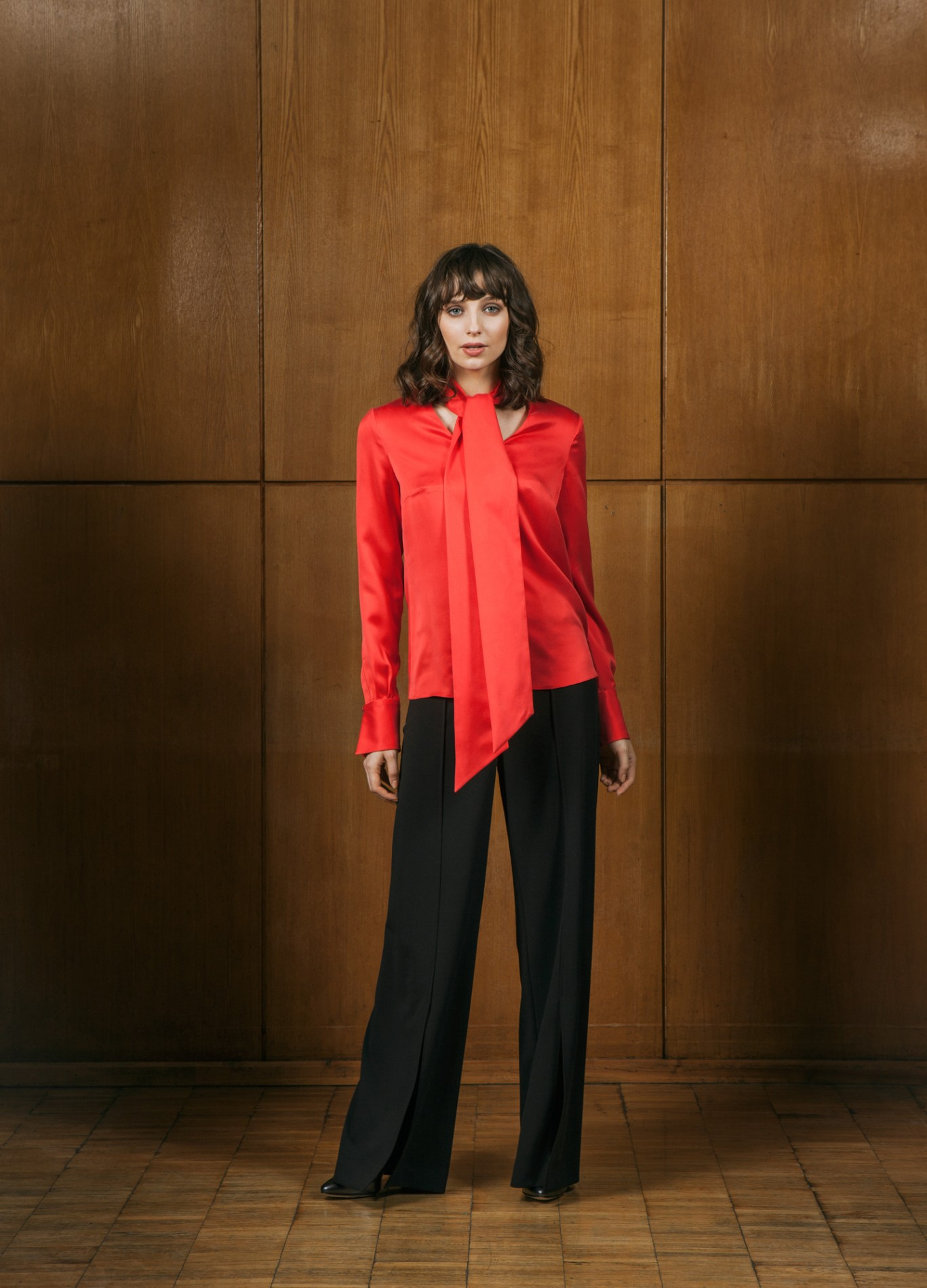 DIAMOND Pussy-bow Blouse and ONYX Wide Trousers