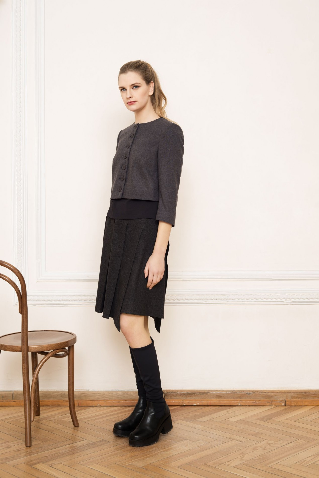 ALPS Short Jacket and ALPS Pleat Skirt