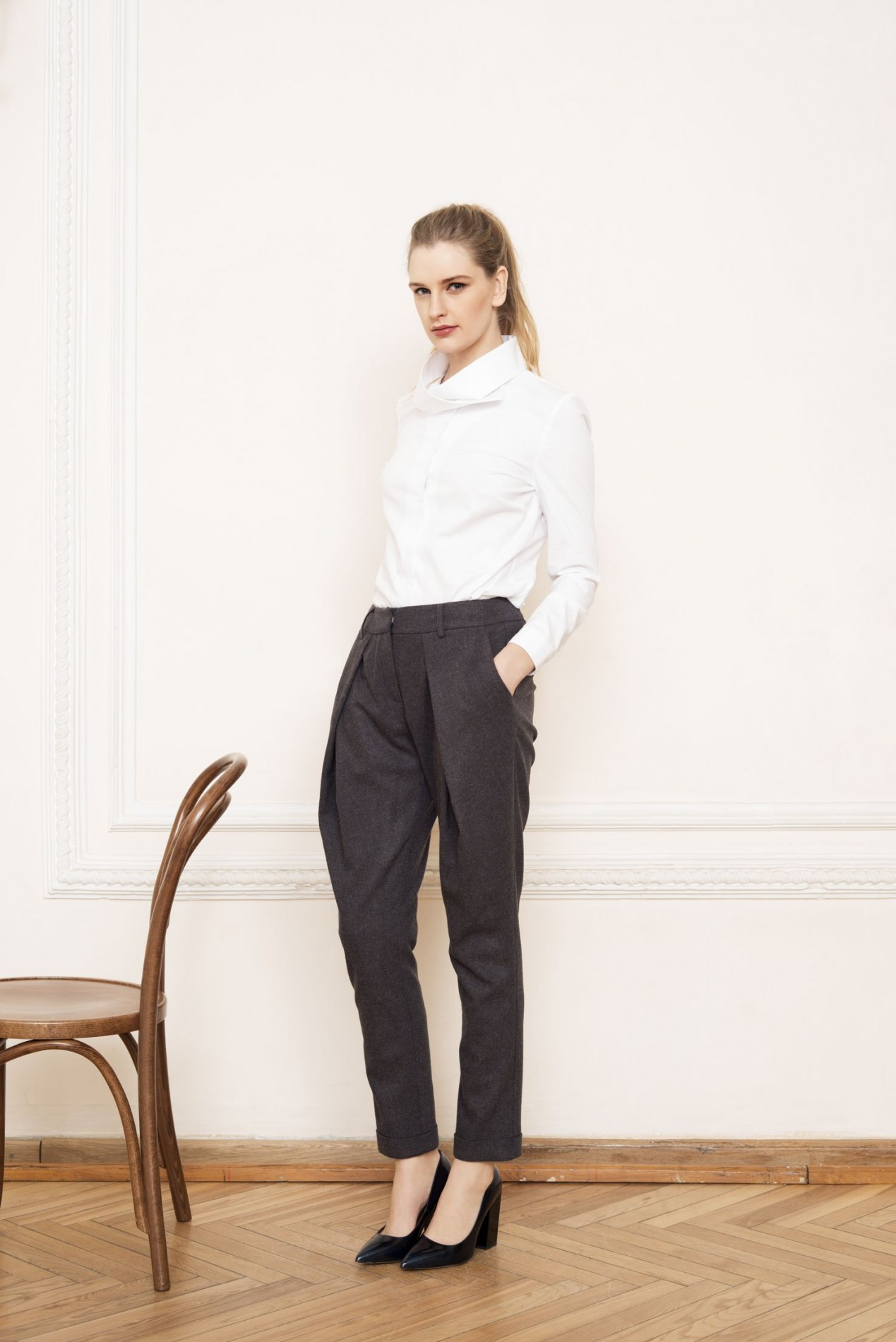 RILA High Neck Shirt and ALPS Pleat Trousers