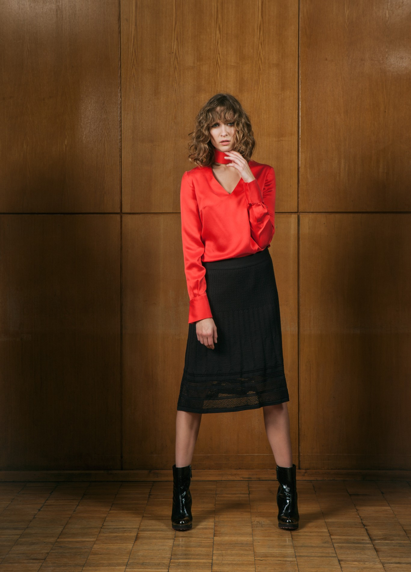 DIAMOND Pussy-bow Blouse and AMBER Skirt
